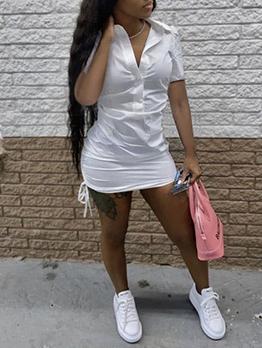 Street Turndown Collar Short Sleeve Shirt Dress