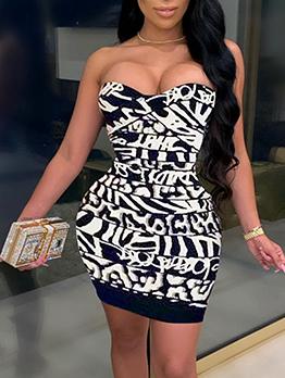Sexy Night Club Print Strapless Short Dress