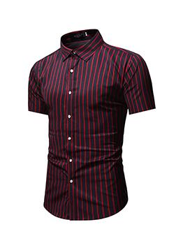 Striped Turndown Collar Short Sleeve Men Shirts
