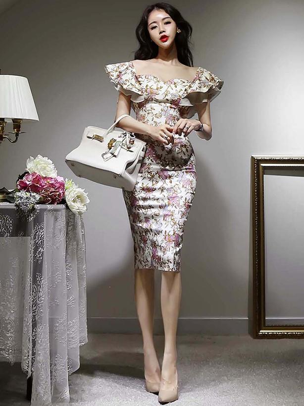 Sexy Temperament Ruffled Floral Print Sheath Dresses