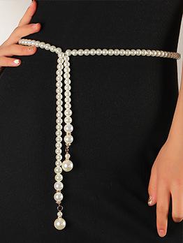 Korean Style Retro Faux-Pearl Dress Waist Chain