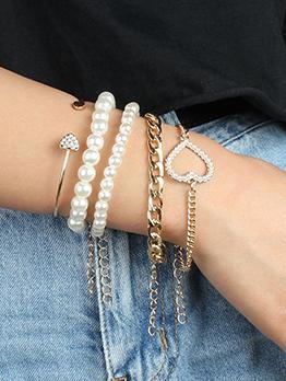 Simple Faux Pearl Heart Chain Bracelet Sets