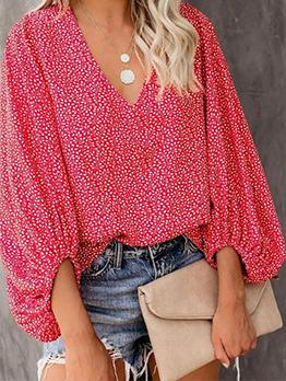 New Floral Lantern Sleeve V Neck Women T-shirt