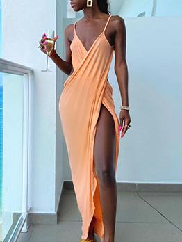 Alluring Solid V Neck Backless Sleeveless Maxi Dress