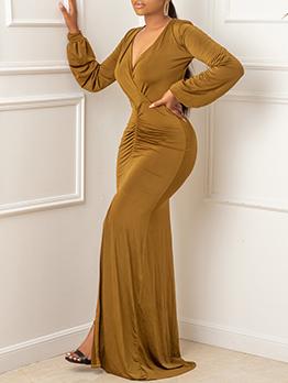Ladies Solid V Neck Slit Patchwork Maxi Dresses