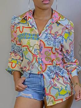 Summer Casual Printed Long Sleeve Loose Blouse