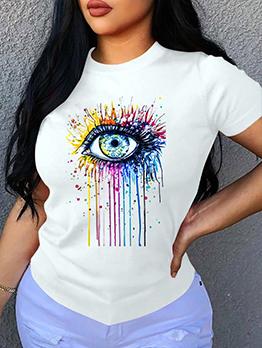Eyes Print Tee Shirts For Women Plus Size Versatile