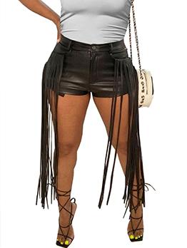Fashion Pure Color Pu Tassel Hot Leather Pants