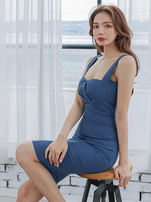 Korean OL Style Zipper Sleeveless Bodycon Dress