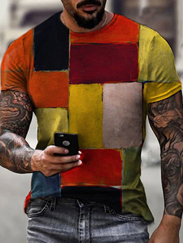 Geometric Printed Multicolored Pullover Tee For Men