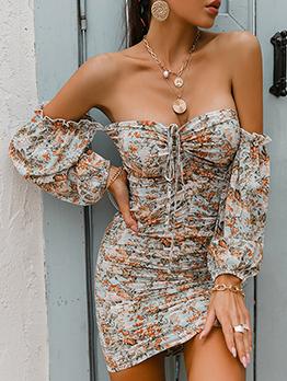 Chic Drawstring Printed Off Shoulder Bodycon Ladies Dress