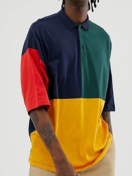 Fashion Contrast Color Half Sleeve POLO Shirt