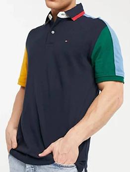 Contrast Color Casual Short Sleeve POLO Shirt