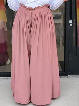 Plus Stringy Selvedge Pink Wide Leg Long Pants