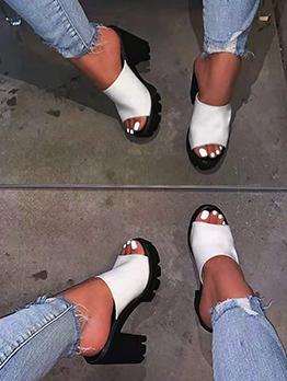 Sexy Nightclub American Style Solid Heel Slippers