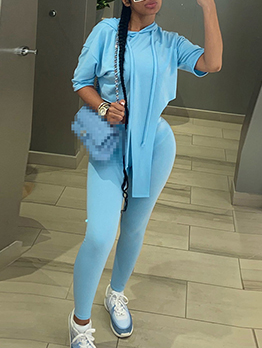Sporty Solid Hooded Collar Two Piece Pant Sets