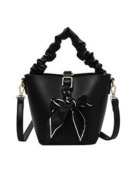 Simple Bow Patch Bucket Handbags