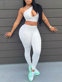 Inclined Shoulder Low Cut Two Piece Pant Sets
