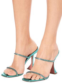 Rhinestone Solid Square Neck Heel Slippers Ladies