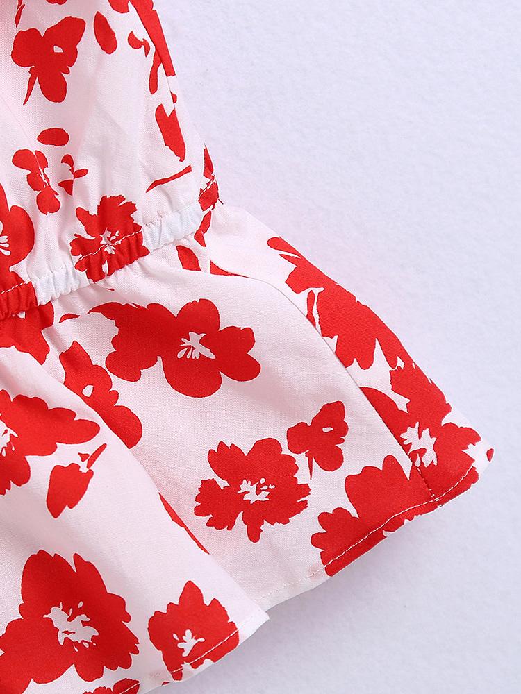 Chic Doll Collar Floral V Neck Blouse