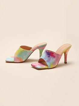 Fashion Rainbow Color Elegant Ladies Heel Slippers