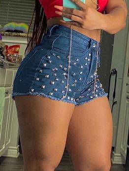 Street High Waist Rivet Short Pant For Women