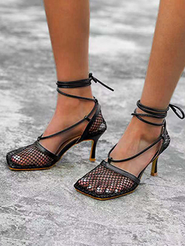 Hollow Out Square Toe Solid Women Heel Sandals