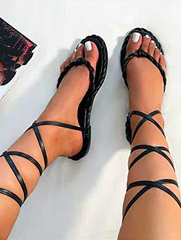 Round Toe Roman Style Cross Lace Up Flat Sandals