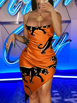 Sexy Leopard Pattern Nightclub Camisole Bodycon Dress