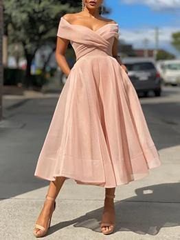 New Solid Short Sleeve Midi Dress