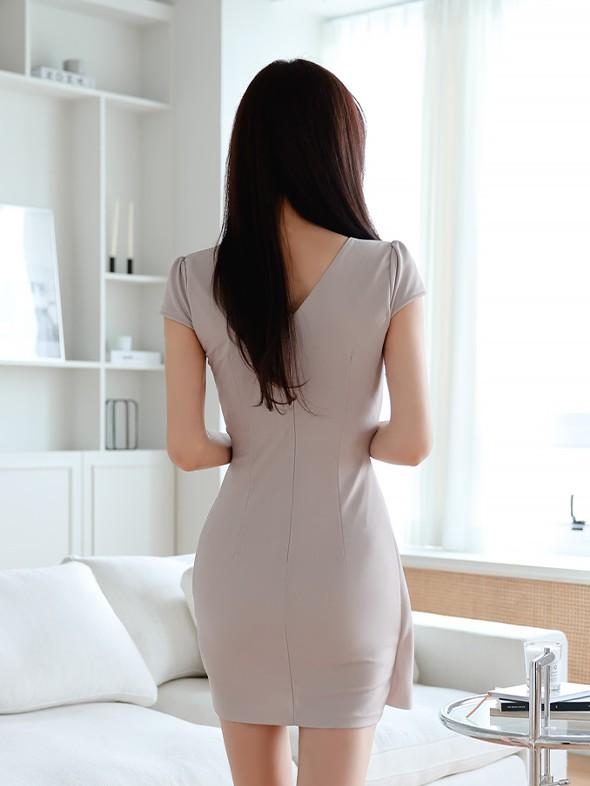 Korean Solid V Neck Short Sleeve Dress
