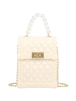 Solid Rhombus Lattice Faux Pearl Chain Shoulder Bag