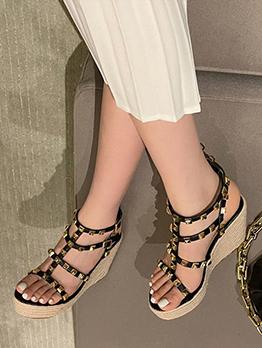 Roman Style Wedge Rivet Heel Sandal