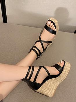 New Weaving Patch Wedge Ladies Sandal