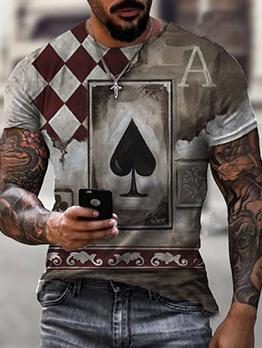 Street Poker Print Pullover Men Fitted Tee Shirt