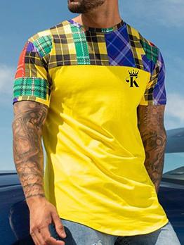 Plaid Crown Print Yellow Tee Shirt For Men