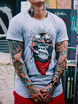 Round Neck Pullover Cheap Graphic Tees