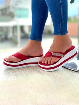 Contrast Color Wedge Flip Flop Slippers