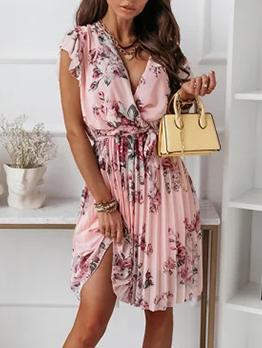 Youthful Floral Ruched V Neck Short Sleeve Dresses