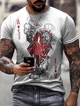 Poker Letter Pullover Short Sleeve Men Graphic Tees