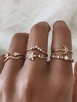 Women Rhinestone Star Crescent 6 Sets Ring