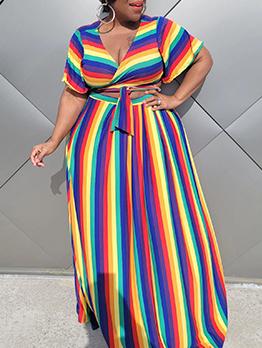 Plus Size Striped Print Two Piece Skirt Sets