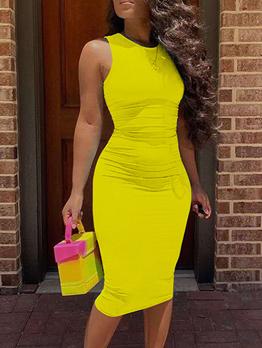 Leisure Pure Color Bodycon Sleeveless Midi Dress Women
