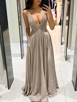 Ladies V Neck Solid Sequined Backless Evening Dresses