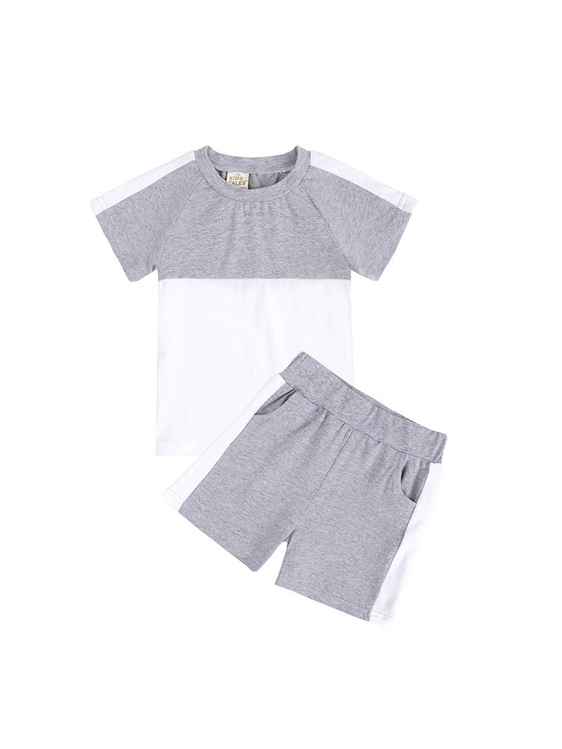 Contrast Color Short Sleeve Tee With Pants