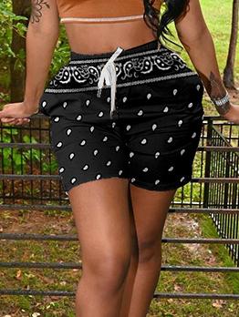 Casual Print Short Pants Beach For Women Pocket