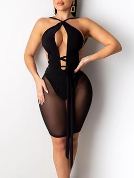 Tempting Solid Tie-Wrap Halter Summer Dress Backless