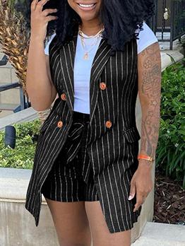 Fashion Striped Sleeveless Blazers And Short Set