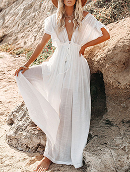 Adorable Solid Short Sleeve Maxi Dress Cover Ups