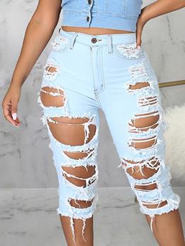 Fashion Street Trendy Hollow Out Denim Half Pants